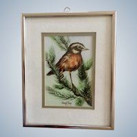 Joseph Boon, Sparrow Bird In Pine Tree Acrylic and Watercolor Painting Signed By Listed Artist