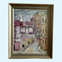 Pearl Burke, Figural People Walking Down European Street Scene, Impressionist Oil Painting