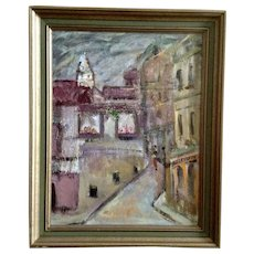 Pearl Burke, Figural People Walking Down Narrow European Street Scene, Impressionist Oil Painting on Canvas Signed by Artist