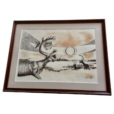 Terry Huskett Wolf and Caribou In Alaskan Tundra Limited Edition Lithograph Print