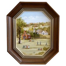 Lal Fleming, Oil Painting on Board Folk Art Children Playing at Recess by Schoolhouse, Signed by Colorado Artist