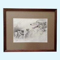 Sandy Scott, Borzoi Russian Wolfhound Dogs Original Pencil Sketch