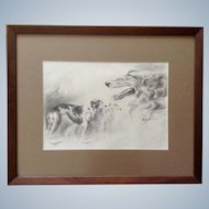Sandy Scott, Borzoi Russian Wolfhound Dogs Original Pencil Sketch Signed by Artist