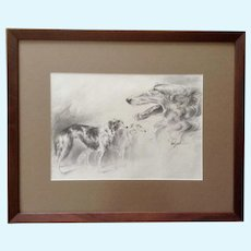 Sandy Scott, Borzoi Russian Wolfhound Dogs Original Pencil Sketch