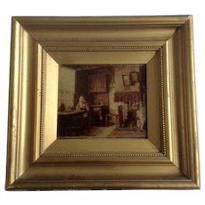 Interior Scene Dutch Woman Sewing in Kitchen Area Sepia-Toned Photograph 1904 Munchen Art Picture