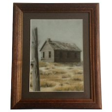Loree Elf, Abandoned Dust Bowl Home Original Realism Pastel Painting Signed By Artist