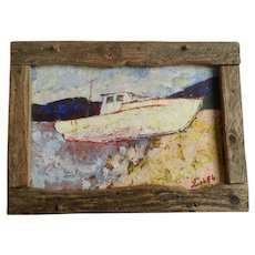 Boat Stranded on Beach Original Oil Painting Signed Lieb