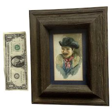 Helen Shields, Old Cowboy Portrait Watercolor Painting Signed by Artist