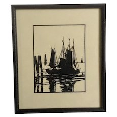 Vintage Silhouette of Fishing Boats at Mooring Black and White Die Cut Works on Paper