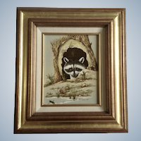 R Smith, Serigraph Silkscreen Print Raccoon and Turtle Art Picture