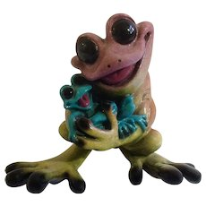 Kitty's Critters Collectible Rock-A-By-Baby Frog Mom and Baby Whimsical Anthropomorphic Figurine Discontinued