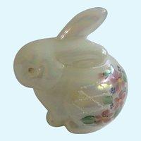 Fenton Art Glass Bunny Rabbit Iridescent Pearl Figurine Hand Painted Glitter Sand and Floral Design D Robinson