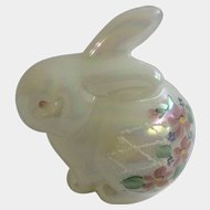Gorgeous Fenton Iridescent Pearl Art Glass Bunny Rabbit Figurine Hand Painted Glitter Sand and Floral Design D Robinson