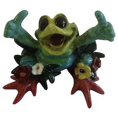 Kitty's Critters Collectible My Paradise Hippie Frog with Thumbs Up Whimsical Anthropomorphic Figurine Discontinued