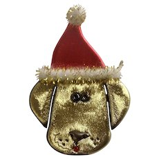 Vintage Golden Colored Christmas Dog With Santa Hat Brooch Pin Costume Jewelry