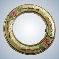 Vintage Golden Circle Brooch Pin with Hand Painted Flowers