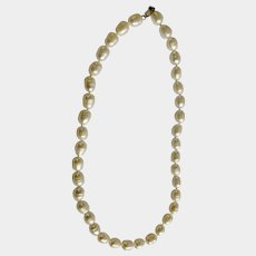 """Vintage Cultured Pearl Necklace 16-3/4"""" Length 925 Sterling Clasp"""