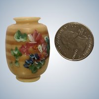 Miniature Resin Style Vase Hand Painted Gold With Flower Dollhouse Diorama Made in Ecuador