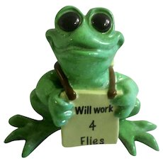 Kitty's Critters Frog Joe Will Work 4 Flies Collectible Whimsical Anthropomorphic Figurine Discontinued