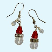 Beautiful Dangling Red and Clear Santa Claus Crystal Fishhook Earrings for Pierced Ears