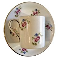 Vintage Royal Grafton Demitasse Coffee Cup or Teacup and Saucer Plate Pink Roses and Blue Flowers England 1391 1392