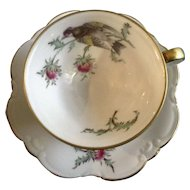 Eberthal Bavaria 1463 Pink Thistles, Multicolor Bird, Scalloped Edge Demitasse Coffee Cup or Teacup and Saucer Plate
