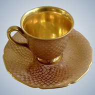 Rosenthal Ivory Gold Gilded with Pink Dots Footed Demitasse Cup and Saucer Plate