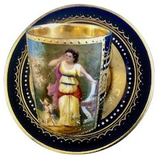 Royal Vienna Beehive Demitasse Cup and Saucer Cobalt Blue and Gold Hand Painted Signed