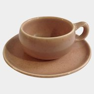 Russel Wright Pottery American Modern Coral Demitasse Cup & Saucer Steubenville