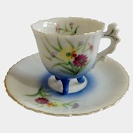 MK Made in Japan, Floral Design Three Footed Demitasse Hand Painted Cup & Saucer Set