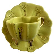 Lime Green Four Footed Quatrefoil Demitasse Cup and Saucer