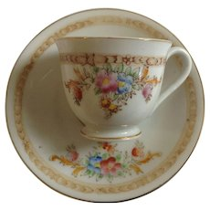 Occupied Japan Pink and Blue Wildflower Smooth Demitasse Cup and Saucer