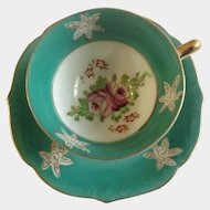 Three Footed Demitasse Cup and Saucer Japan Purple Flowers Green Trim
