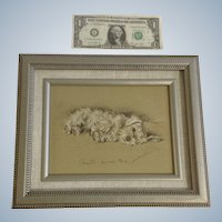 1930's-1940's Lucy Dawson, Sealyham Named Bustle Framed Print from the Book, Dogs Rough And Smooth