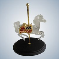 Carousel Horse Crystal Glass Patriot Designer William Dentzel III Franklin Mint Figurine