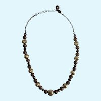 "Gold-Tone and Glitter Brown Beaded Necklace 18"" Long"