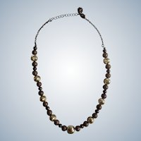 """Gold-Tone and Glitter Brown Beaded Necklace 18"""" Long"""