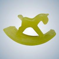 Vintage Ink Blotter Rocking Horse Yellow Glass