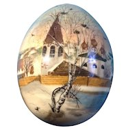 Russian Lacquerware Wooden Egg OOAK One of a Kind Hand Painted Cepsneb Nocad A. Oknho Signed by Artist