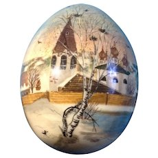 Russian Lacquerware Wooden Egg Hand Painted Signed by Artist