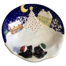 Scotty Dog Bowl Noritake 'Twas The Night Before Christmas' Open Ceramic Candy Dish Discontinued