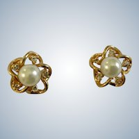 Faux Pearls Surrounded by Faux Diamond Rhinestones Gold-Tone Star Stud Post Earrings Costume Jewelry