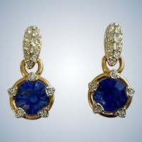Faux Diamond Encrusted and Blue Swarovski Crystal Stud Post Earrings for Pierced Ears