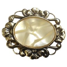 Vintage Gold-Tone and Faux Mother of Pearl Scarf Clip Costume Jewelry West Germany
