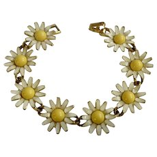 Weiss Yellow and White Daisy Flowers Bracelet Costume Jewelry