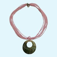 Sparkling Pink Glass Beads Faux Mother of Pearl Shell Pendant Necklace