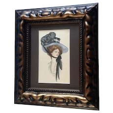 Francis Gibson Girl Original Portrait of a Woman in Hat 1910 Watercolor Painting Signed by Artist