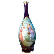 Rosenthal Bud Vase Victorian Scene Hand Painted0699 Vintage Germany