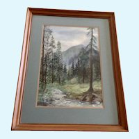 Mapes, Forest Mountain Landscape Watercolor Painting