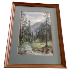 Mapes, Forest Mountain Landscape Watercolor painting Signed by Artist